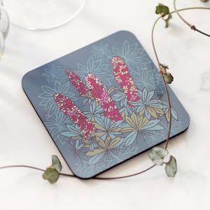 Set of 4 Cork Backed Lupin Flower Design Drinks Coasters