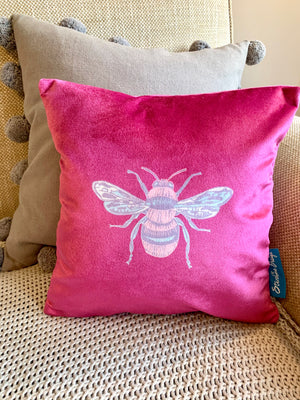 Jewel magenta coloured Collection Honey Bee velvet Cushion with Feather Insert