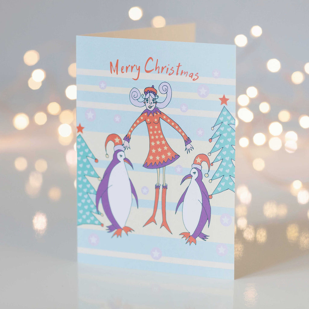 Festive Merry Christmas Penguins with Girl Design Greeting Card