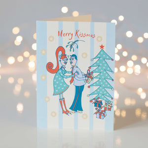 Merry Kissmas Festive Scene Design Christmas Greeting Card