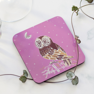 Set of 4 Cork Backed Owl and Night Sky Design Drinks Coasters