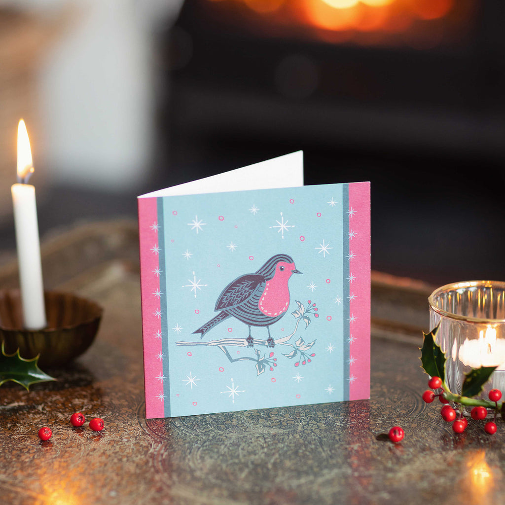 Little Pink Festive Mr Robin Christmas Greeting Card