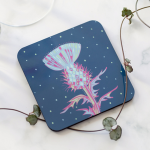 Set of 4 Cork Backed Scottish Thistle Design Drinks Coasters