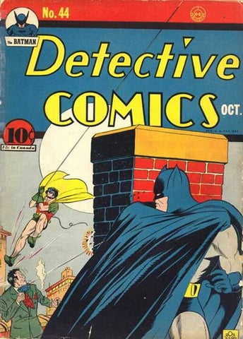 Cover of Detective Comics #44 featuring Batman's blue and grey costume batsuit