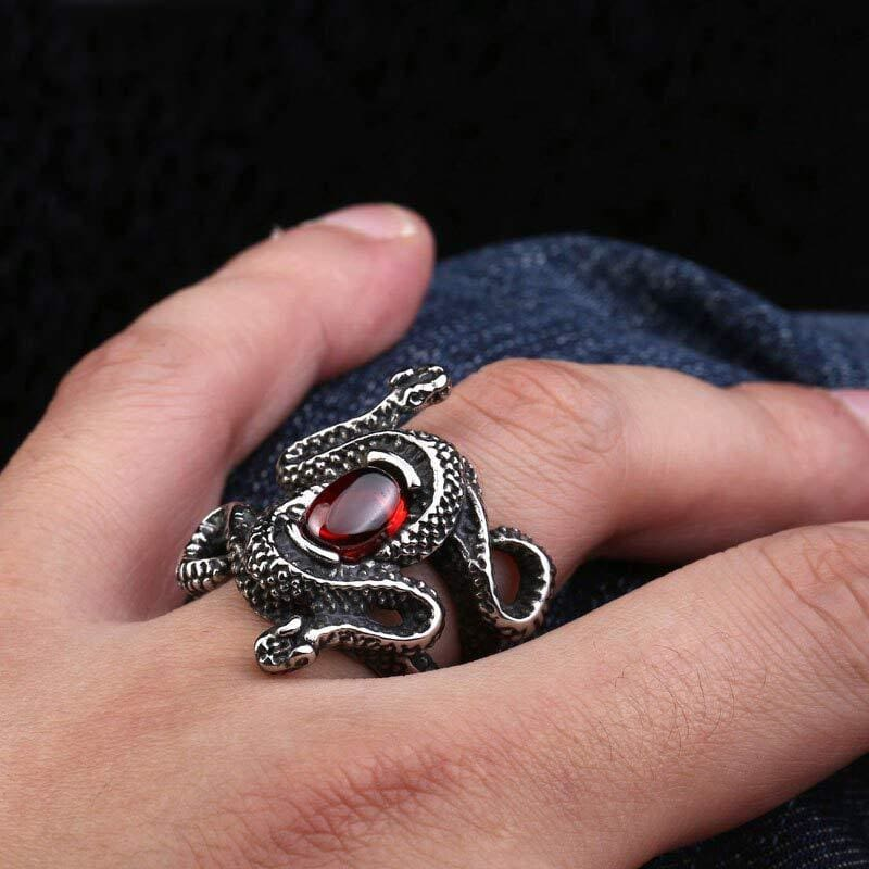 bague serpent gemme rouge