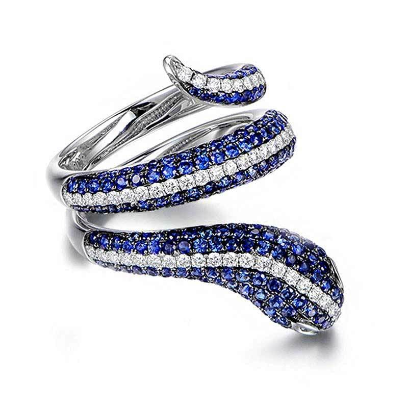 bague serpent diamant bleu