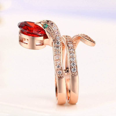 bague serpent zirconium solitaire rouge