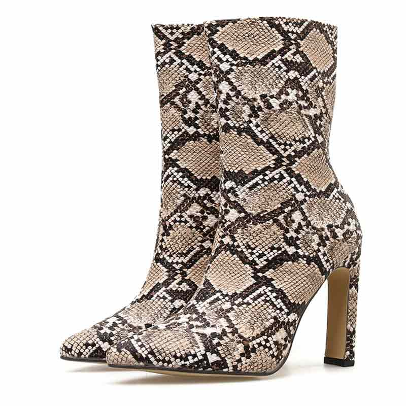 Bottines Serpent Marron