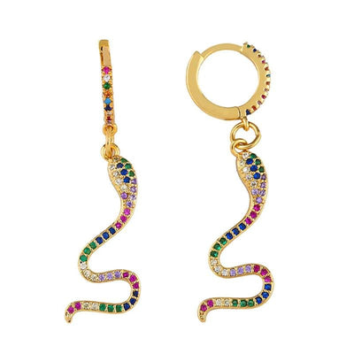 boucles d'oreilles serpent multicolores