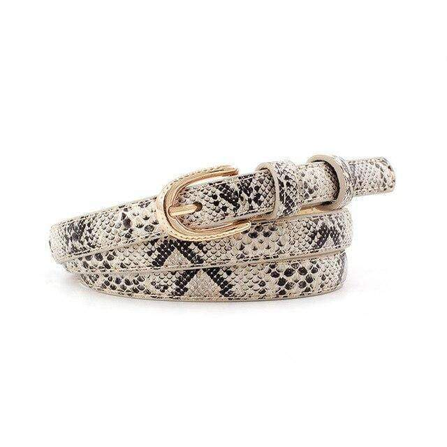 Ceinture Serpent Poinçonnée Beige | Instinct Serpent
