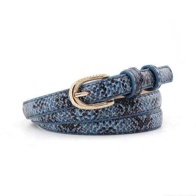 Ceinture Serpent Poinçonnée Bleue | Instinct Serpent