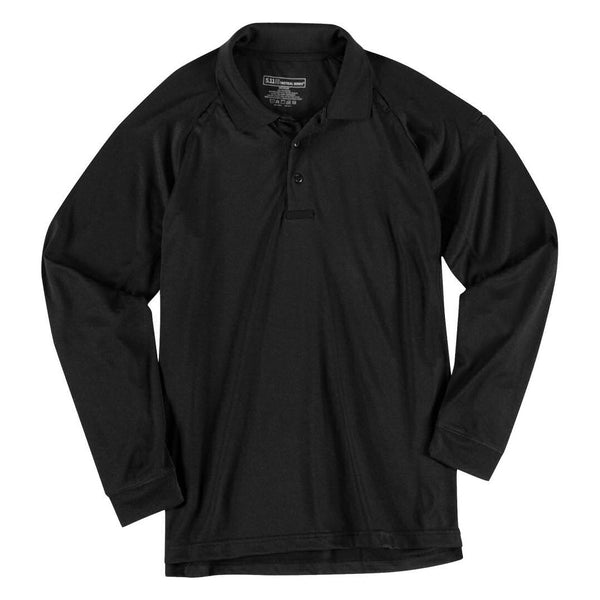5.11 Long Sleeve Synthetic Knit Performance Polo, Men's, Black, Medium