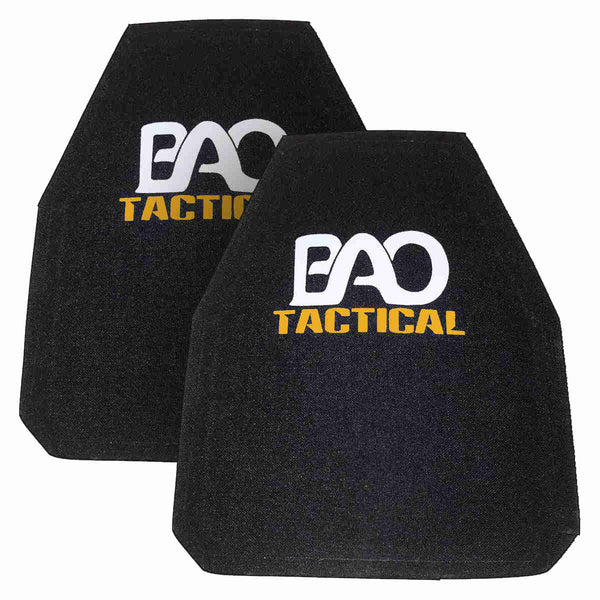 BAO Tactical pair of 4400GL Level IV SA Hard Armor Plates, Shooter's Cut Single Curve, 10x12