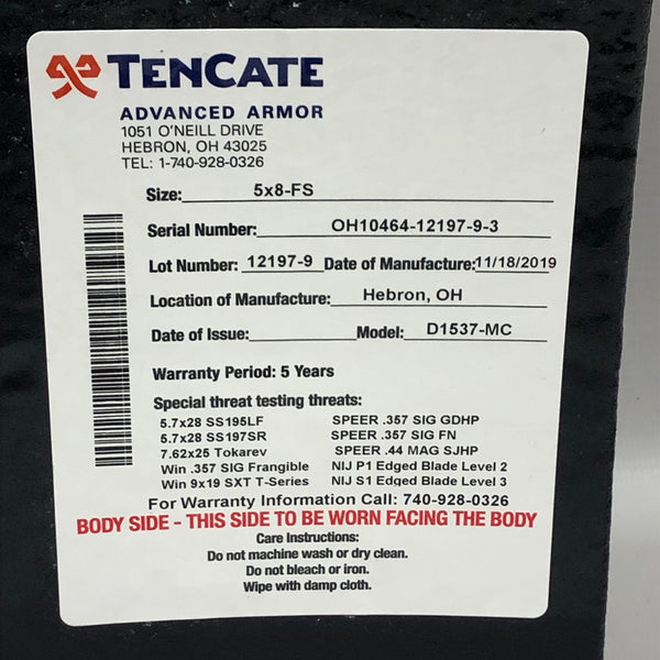 TenCate CR1200 Level IIIA+, Spike 2, & Slash Advanced Body Armor Plate 5x8 Full Size