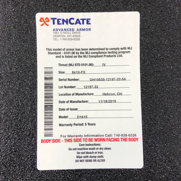 TenCate CR4200 Level IV Advanced Body Armor Plate 8x10 Full Size