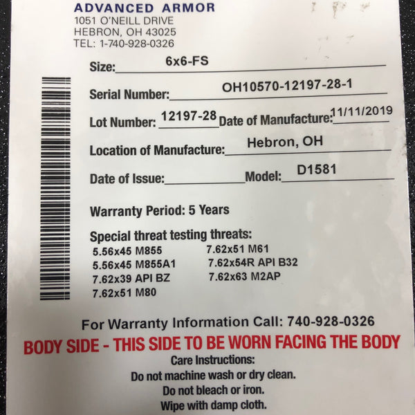 Tencate CR5200 Level III / Level IV Stand Alone Advanced Body Armor Plate 6 x 6 FS
