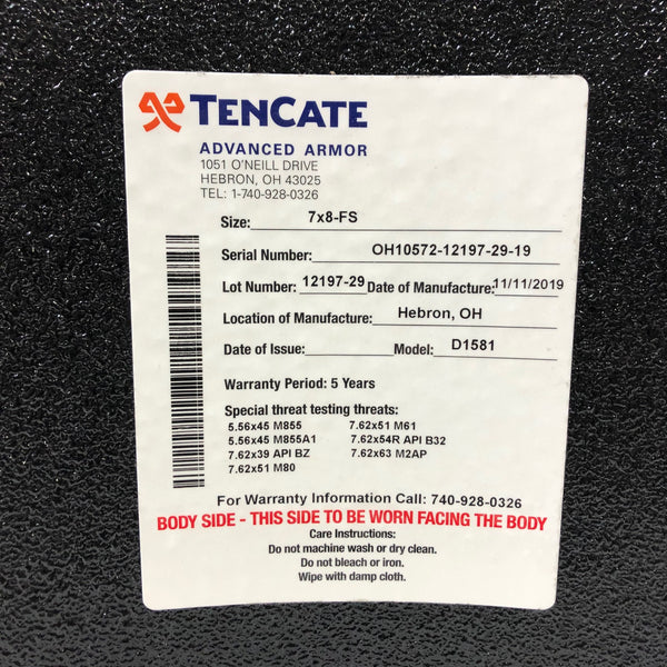Tencate CR5200 Level III / Level IV Stand Alone Advanced Body Armor Plate 7 x 8 FS
