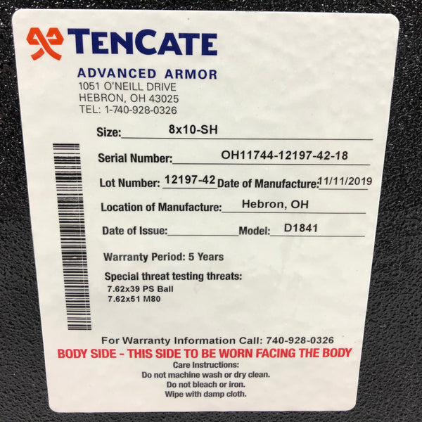TenCate CR8000 Level III Steel Advanced Body Armor Plate 8x10 SH
