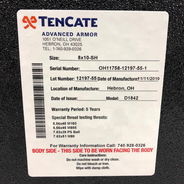 TenCate CR8100 Level III Steel Advanced Body Armor Plate 8x10 Shooters Cut
