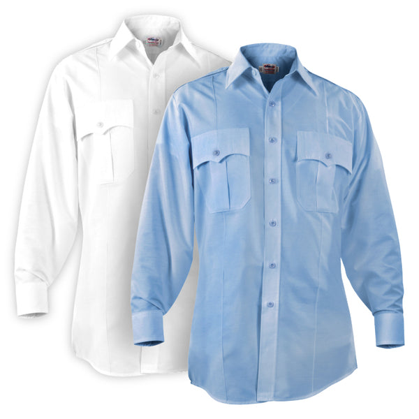Elbeco Paragon Plus L/S Shirts, Men's Blue and White