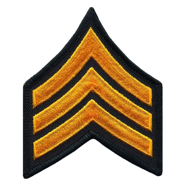 Hero's Pride Sergeant Chevrons, Summer Gold/Black, 3inch Wide, Merrowed
