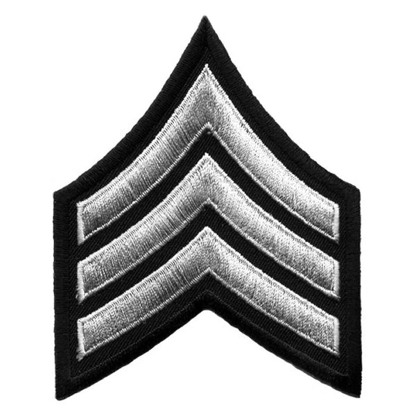 Hero's Pride Sergeant Chevrons Medium Grey/Black, 3inch Wide Merrowed