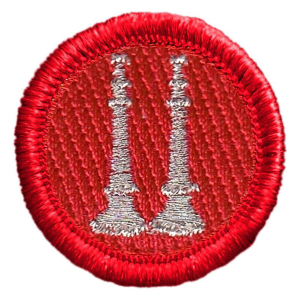 Hero's Pride Two Parallel Bugles, Silver/Red, 1-1/4""