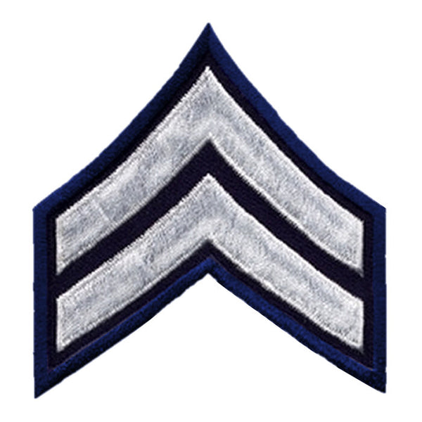 "Hero's Pride Corporal Chevrons, White/Navy on Black, 2-3/4"" Width"