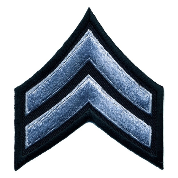 "Hero's Pride Corporal Chevrons, Subdued Grey/Black, 3"" Wide"
