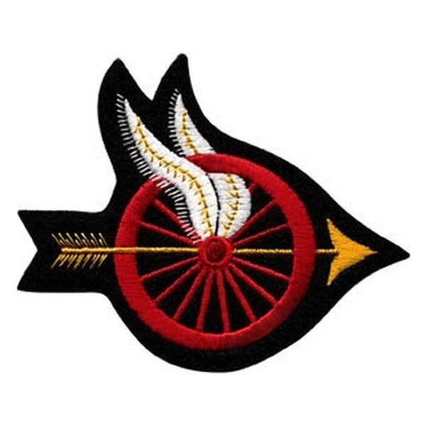 Hero's Pride Wheel w/ Wings Shoulder Patch, Arrow Points Right, 4x3.5 Red