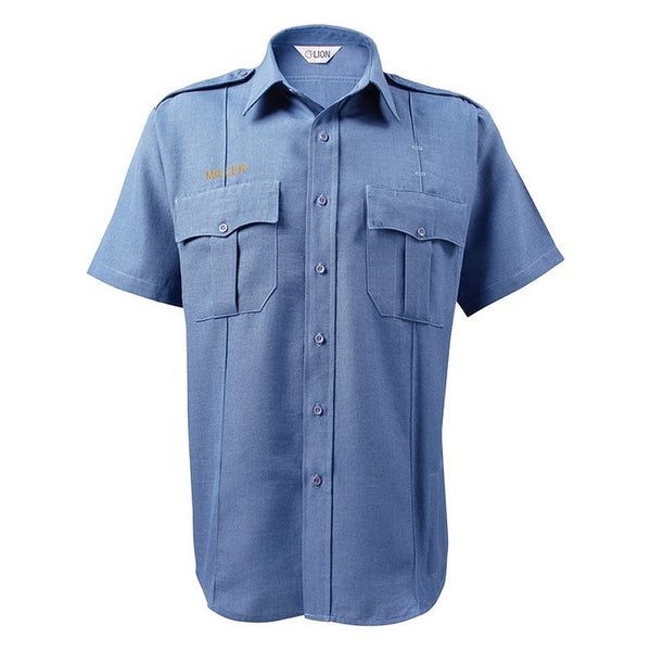 Lion Bravo Twill Weave Short Sleeve Shirt (4.25 oz), Medium Blue, Unisex