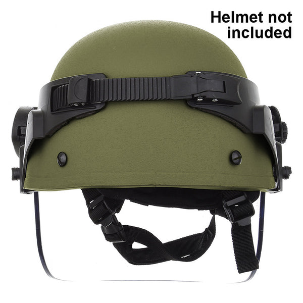 Paulson DK6 Series Polycarbonate Riot Face Shield, Coated / Helmet Band Assembly