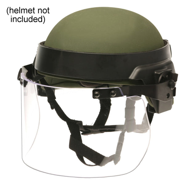 Paulson DK7 Series Polycarbonate Riot Face Shield, Coated / Helmet Band Assembly, 6in.