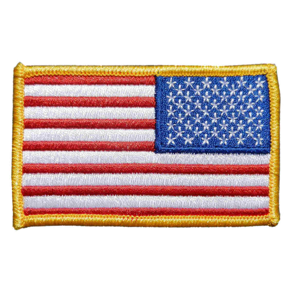 U.S. Flag Patch in Color w/ Gold Border - Reverse