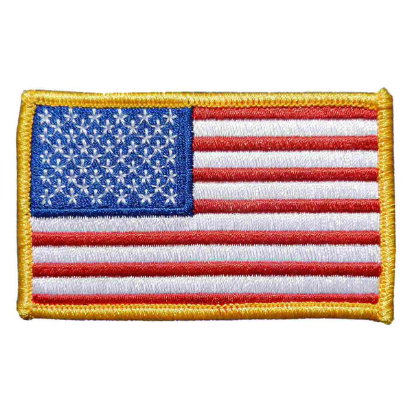 U.S. Flag Patch in Color w/ Gold Border