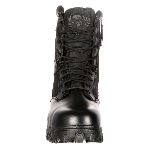 Rocky AlphaForce Zipper Waterproof Black Duty Side Zip Leather Mens Boots