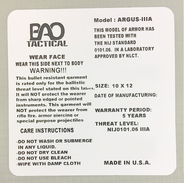 BAO Tactical V3 Level IIIA 10x12 Shooter's Cut Ballistic Panel - label