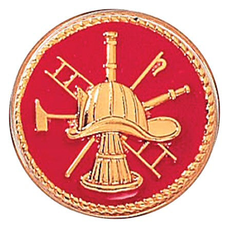 Blackinton Fire Horn Scramble Pin with Red Background - gold