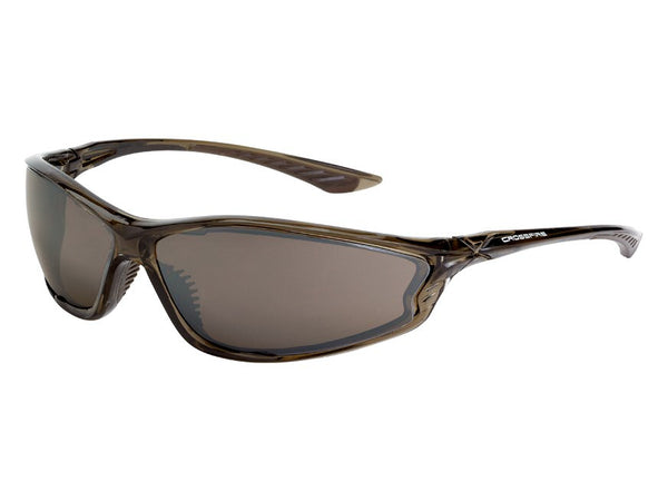 Crossfire KP6 Sunglasses - Dark Crystal Brown Frame, HD Brown Flash Mirror Lens