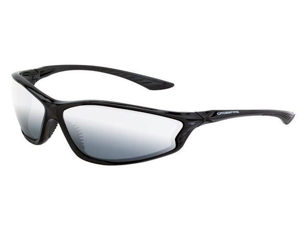 Crossfire KP6 Sunglasses - Shiny Black Frame, Silver Mirror Lens