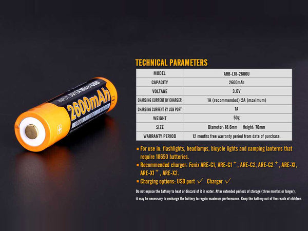 Fenix ARBL18 High-Capacity 18650 Battery - technical parameters