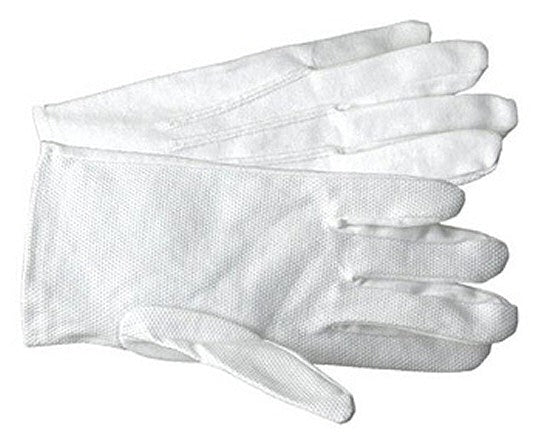 GFP White Cotton Parade Gloves with PVC Dots & Vent Cuff