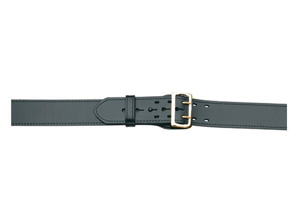 G & G Leather Lined Duty Belt, 4 Row Stitched, Black w/Brass