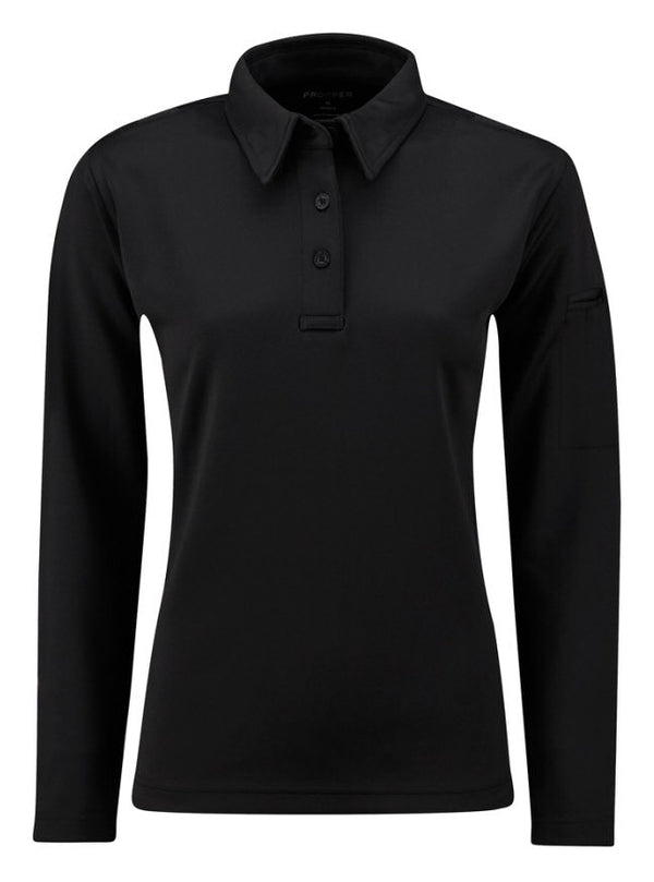 ICE Women's Performance Long Sleeve Polo - black