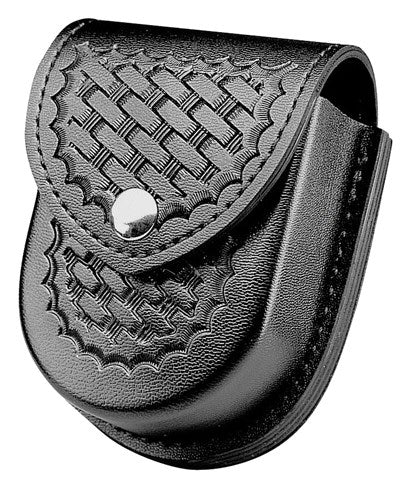 Safariland Model 290 Double Cuff Pouch, Faux Basketweave, Black w/ Chrome