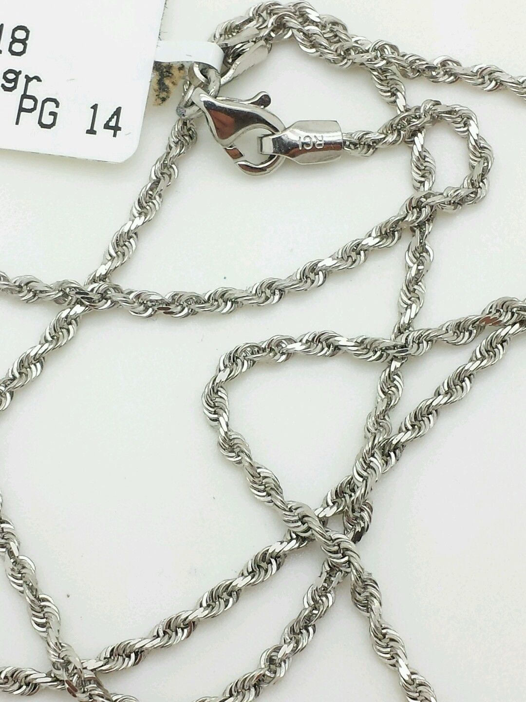"""14k Solid White Gold Diamond Cut Twist Rope Necklace Pendant Chain 1.8mm 16-30/"""""""