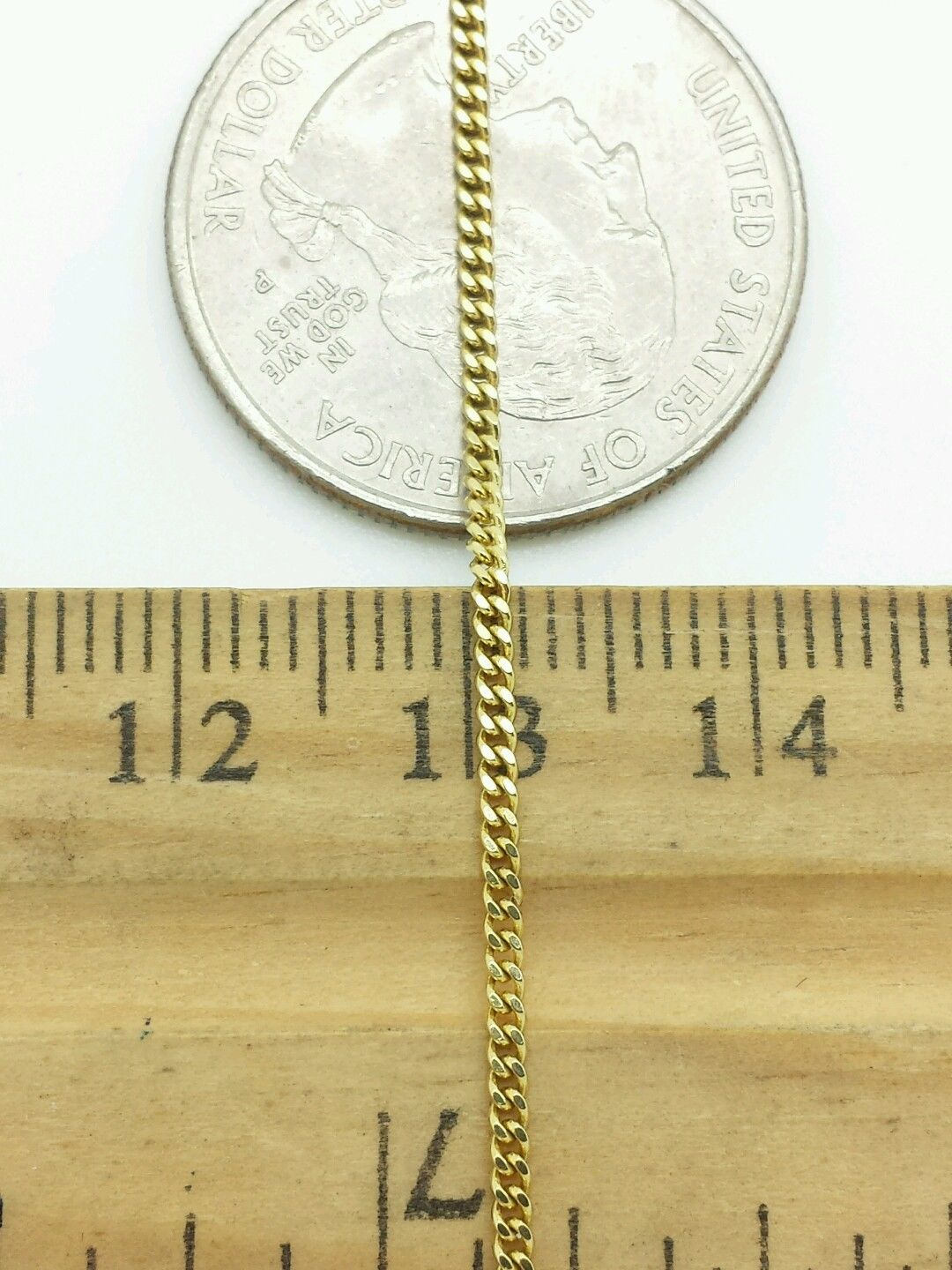 """14k Solid Yellow Gold Gourmette Miami Cuban Necklace Pendant Chain 1.5mm 16-24/"""""""