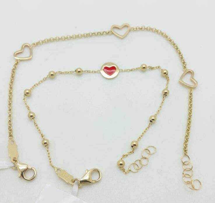 14k Solid Yellow Gold Stationed Red Heart Love Beads Chain Bracelet Child Baby
