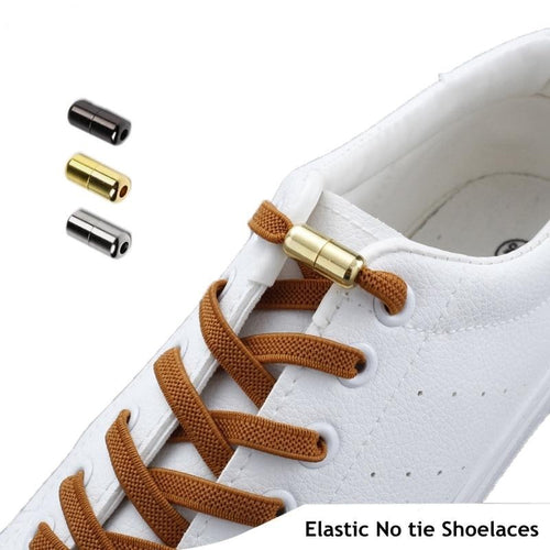 Flat No Tie Shoelaces Elastic with Metal Lock - 1Pair
