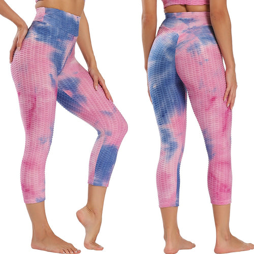 Tie Dye Calf Length Anti-Cellulite High Waist Leggings